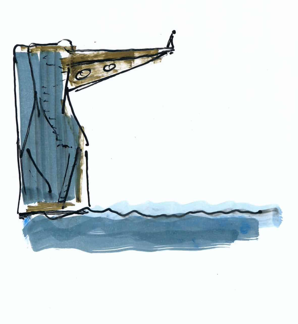 Sprungturm im Schwimmbad