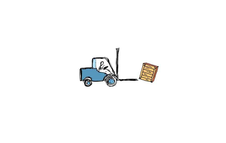 Gabelstapler wirft Kiste ab
